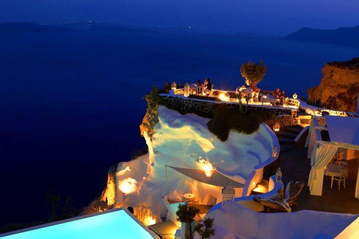 Santorini Island night Greece