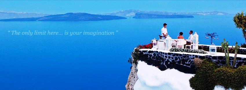 Santorni Breakfast overlooking sea Greece