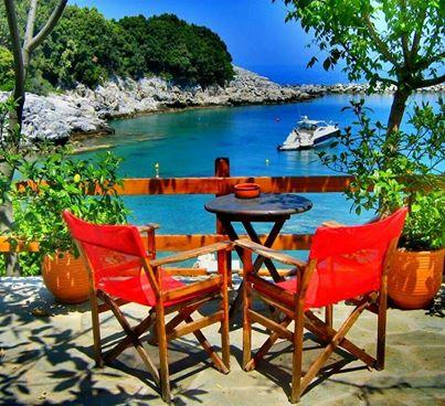 Rail Europe Greece seaside cafe