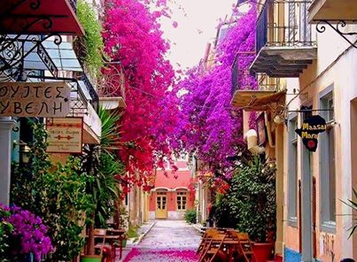 Rail Europe Greece walkway beautiful flowers