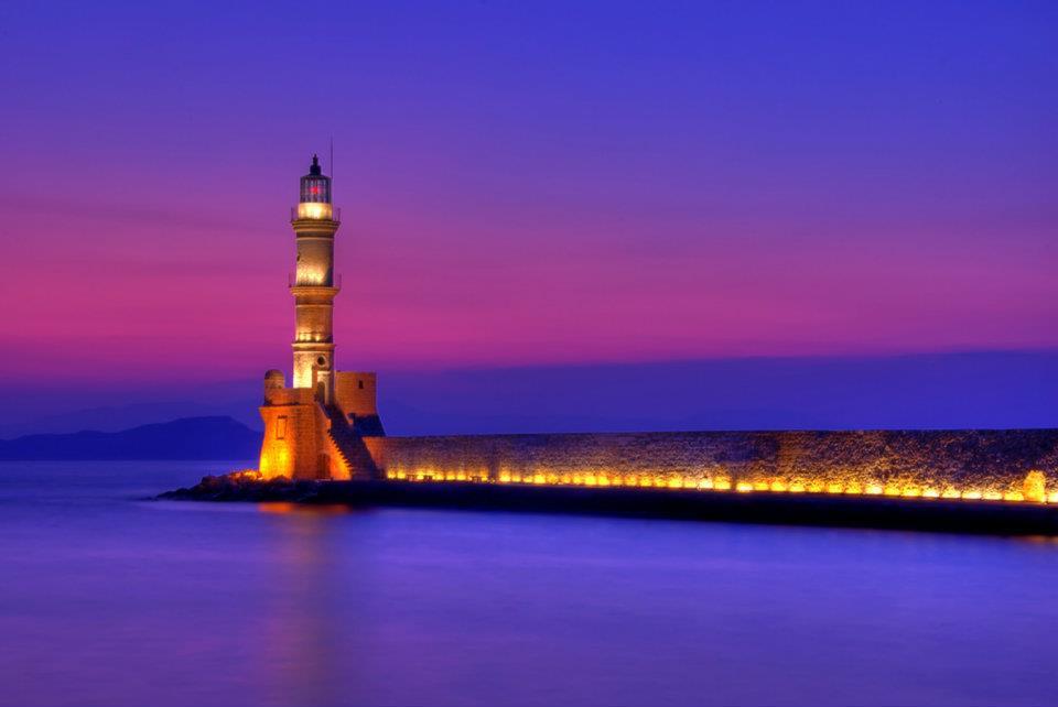 Greece Crete Chania Lit up Lighthouse